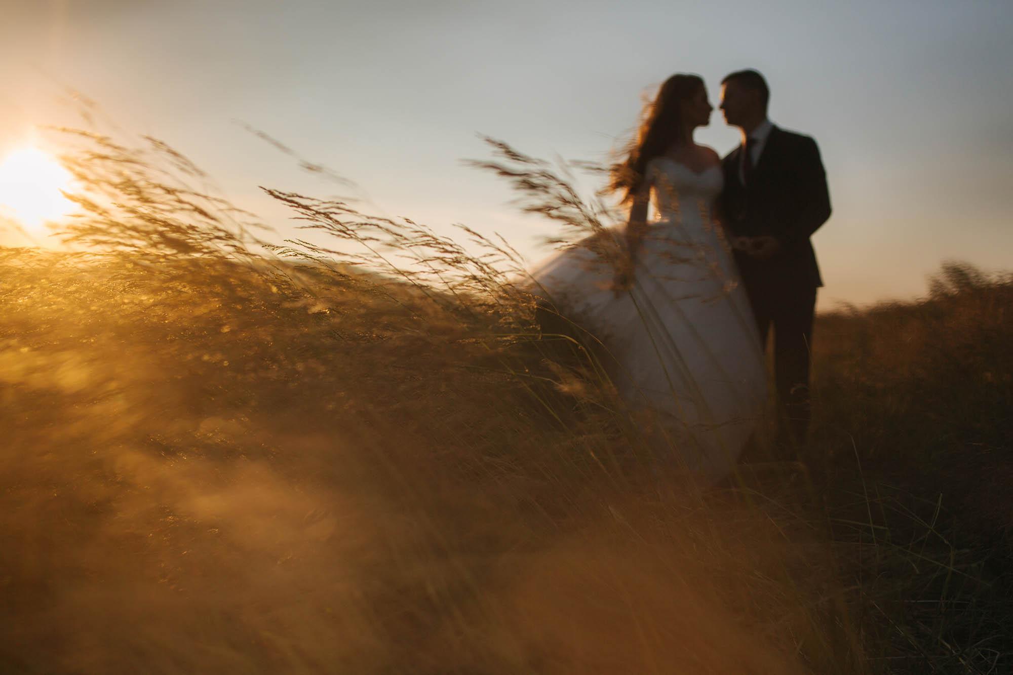 Blured bride and groom enjoying