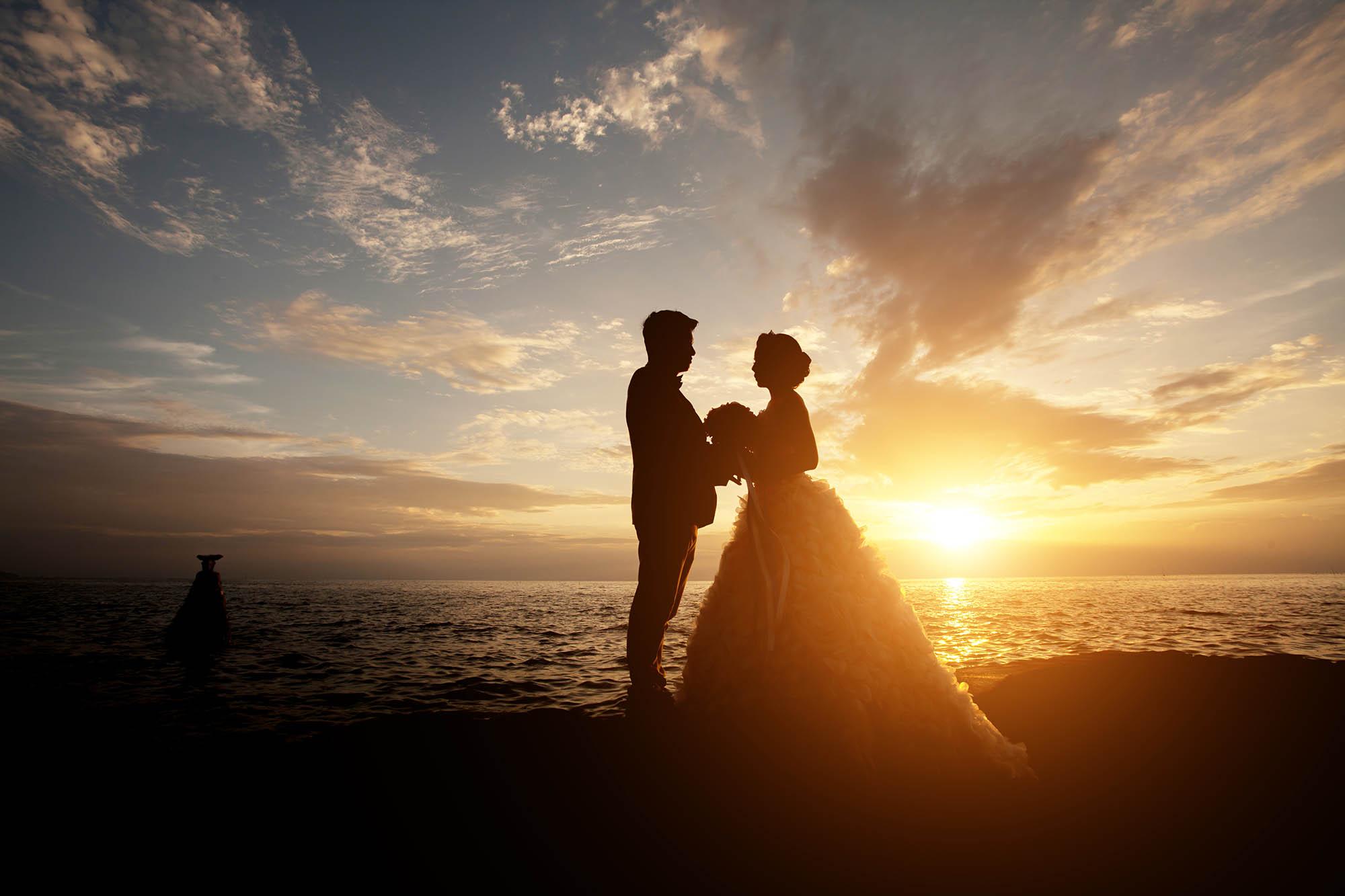 beautiful sunset on the sea